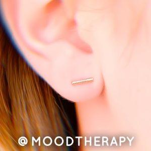 Gold Bar Stud Earrings w/925 sterling silver posts